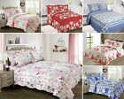 New Single Double King Quilted Bedspread Comforter Blue Pink Shams Floral Luxury