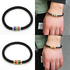 Stainless Steel Rainbow Lesbian Bangle Pride Bracelet Magnetic Clasp Gay
