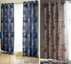 "Readymade Eyelet Ring Top Curtains Pair Tartan Checked Fully Lined 66 x 72"" New"