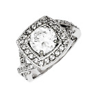 925 Sterling Silver White Synthetic Cubic Zirconia Halo Square Ring