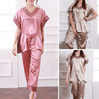 2017 Stylish Women's Silk Satin Style Pajamas Nightwear Sleepwear Homewear Robes