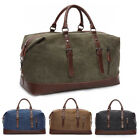 Travel - Vintage Men's Leather Military Canvas Travel Luggage Shoulder Handbag Duffle Bag