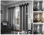 Chicago Eyelet Curtains, Faux Silk Pleated Fully Lined Ring Top Eyelet Curtains