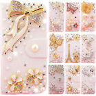 Handmade 3D Bling Crystal Leather Purse Flip Card Pouch Stand Cover Case for LG