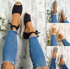 Women Lace Up Flats Espadrilles Summer Chunky Strap Casual Sandals Shoes Size