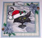 Handmade Greeting Card 3D Christmas Humorous With A Cat