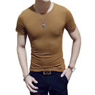 Fashion Mens Round Neck Cotton T-shirt Slim Fit Short Sleeve Solid Color Tee Top