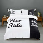 His and Her Side White/Black Duvet Cover Pillow Case Quilt Cover Bedding Set New