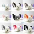 Cat Fox Ears Long Fur Mixed Color Neko Hair Headband Gift Cosplay Party Costume