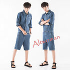 Hot Fashion Men Summer Casual Short Overalls Pants 3/4 Sleeve Jumpsuits Trousers