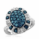 Jewelonfire Sterling Silver 1ct TDW Blue and White Diamond Oval Ring