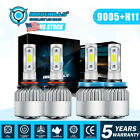 9005 + H11 Total 3400W 510000LM CREE LED Headlight Kit High Low Beam Light Bulbs