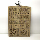 35th Coral Wedding Anniversary Gift Personalised Oak Wooden Plaque Sign