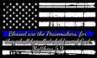 Thin blue line USA Flag Decal - Blessed are the peacemakers Matthew 5:9 Sticker