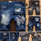 Newly Men Short Denim Jean Pants Casual Jeans Trousers Thigh Ripped Holes Shorts