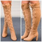 QUPID Camel suede lace up chunky heeled Over the Knee Boots YORK-02