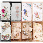 Leather Bling Diamond Wallet Strap Flip Case Stand Cover For iPhone Samsung