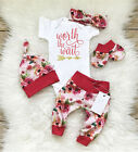 girl baby girl - US Newborn Baby Girl Worth the Wait Top Romper Pants Floral Coming Home Outfit c