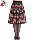 HELL BUNNY 50's HERMELINE rockabilly WOODLAND animal Fox Deer SKIRT BLACK