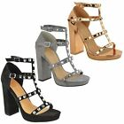 WOMENS LADIES HIGH BLOCK HEEL PLATFORM STUDDED STRAPPY ANKLE SANDALS SHOES SIZE
