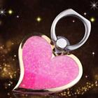 Novel Love Heart Liquid Quicksand Finger Stand Buckle Mobile Phone Holder Ring