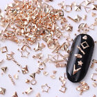Rose Gold Rivet 3D Nail Studs Star Shell Round Triangle Manicure Decoration Tips