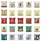 Christmas Xmas Linen Cushion Cover Throw Pillow Case Home Decor Festive Gift 18""