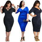 Plus Size Summer Womens Bodycon Party Cocktail Bandage Slim Fit Midi Dress