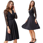 Women Retro 50's 60s Lace Long Sleeve V-Neck Evening Formal Cocktail Party Dress