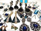 BLUE EARRINGS SELECTION SMALL-LARGE CRYSTAL & GEMSTONE STUD CHANDELIER STATEMENT