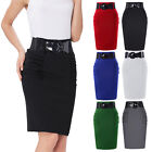 Womens Fits Office Slim High Waist Stretchy Knee Midi Pencil OL Skirt With Belt