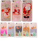 Merry Christmas Glitter Bling Liquid Clear Hard Case Cover For Apple iPhone 6 6S
