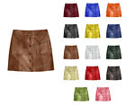 Luxury Genuine Leather Lady Button Up Front 2 Pockets Office Lady Mini Skirt S7