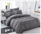 Plain Duvet/Quilt Gray Cover with Pillow Case With Button 4PC Beding Set WB005