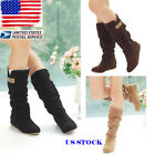 Ladies Pull On Linned Flat Mid-calf Boots Womens Suede Slouch Pull On Booties