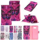 Painted Flip Cover Leather Wallet Card Slots Case Wristlet For Samusng Galaxy