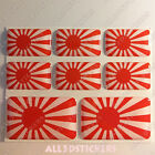 8 x 3D Stickers Resin Domed Flag Rising Sun Japan - Adhesive Vinyl Decal