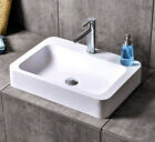 Solid Surface Stone Above Counter Bathroom Basin Matt / Gloss Finish W Pop Waste