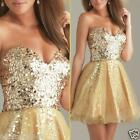 Gold sequins Bridesmaid Gown Homecoming Prom Cocktail Dress Size 6 8 10 12 14 16