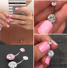 Surgical Steel Navel Rings Crystal Belly Button Ring Bar Body Piercing Jewelry image