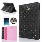 Fashion PU leather bling crown smart stand case cover for iPad Air 2/iPad6