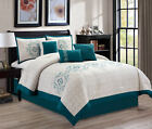Passion 7-pc Embroidered Turquoise Floral White Medallion Bedding Comforter Set