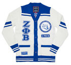 ZETA PHI BETA SORORITY CARDIGAN SWEATER BLUE WHITE HEAVYWEIGHT CARDIGAN SWEATER