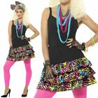 Womens 1980s Fancy Dress Accessories Adult Retro 80s Party Skirt Bow + Necklace