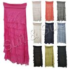 New Womens Italian Lagenlook Quirky Flap Over Layer Stretchy Harem Silk Skirt