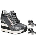 Damen Sneaker Wedges Metallic Lack Schuhe Plateau Sneakers 819112 New Look