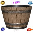 Flower Pots Wine Barrel Planter Resin Deck Patio Home Whiskey Outdoor Garden Oak