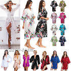 Women Satin Robe Kimono Dress Gown Wedding Lingerie Bridesmaid Sleepwear Night
