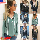 Womens Open Front Cross Lace-up Tops Long Sleeve Pullover Blouse Hoodie T Shirt