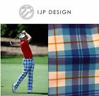 New Ian Poulter Design Tour Check Tartan Golf Trousers Blue White Comfort IJP